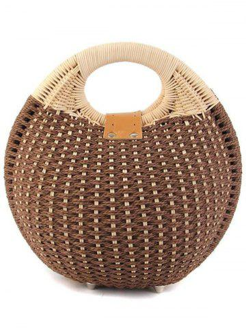 Outfits Trendy Round Shape and Weaving Design Tote Bag For Women - OFF-WHITE  Mobile