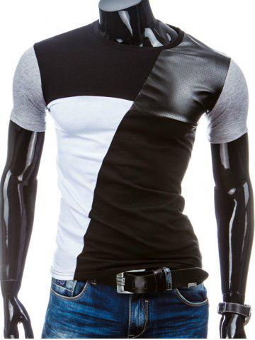 Trendy Casual Round Collar Pullover Splicing T-Shirt For Men - L BLACK Mobile