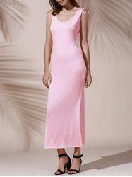 Chic Scoop Neck Sleeveless Cut Out Solid Color Skinny Women's Dress