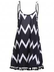 Bohemian Backless Zigzag Stripe Fringed Dress For Women - BLACK