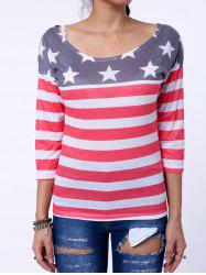Stylish Scoop Collar Long Sleeve Striped Star Print Women's T-Shirt - RED