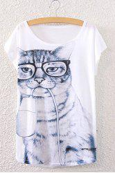 Chic Scoop Neck Short Sleeve Kitten Print Loose-Fitting Women's T-Shirt -