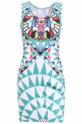 Stylish Geometric Print Scoop Neck Sleeveless Women's Dress - GREEN S