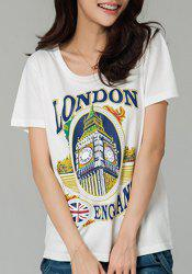 Casual Plus Size Jewel Neck Short Sleeve Building Pattern T-Shirt For Women -