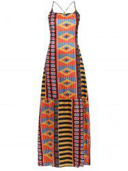 Chic Women's Open Back Ethnic Print Dress - COLORMIX S