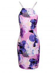Chic Spaghetti Strap Floral Print Hollow Out Skinny Women's Dress