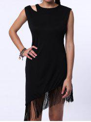 Flapper Jewel Neck Sleeveless Fringe Trim Dress