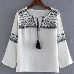 Stylish 3/4 Sleeve Self-Tie Embroidery Embellished Women's Blouse -