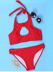 Women's Sexy Halter Red Cut Out Bikini Suit