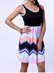 Women's Stylish Sleeveless Scoop Neck Colorful Zig Zag Dress