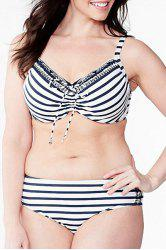 Elegant Plus Size Spaghetti Strap Striped Design Bikini Suit For Women -