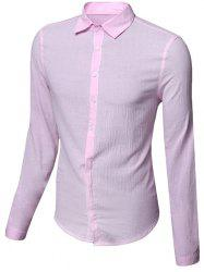 Casual Single Breasted Solid Color Shirt For Men -