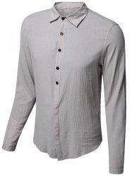 Casual Single Breasted Solid Color Shirt For Men
