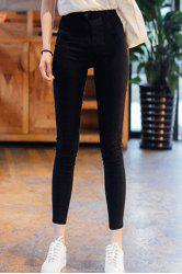 Stylish High Waist Zipper Fly Solid Color Ninth Pencil Pants For Women -