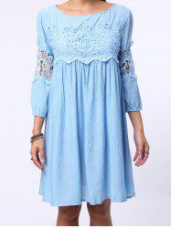 3/4 Sleeve Cut Out Short A Line Dress - LIGHT BLUE