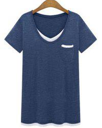 Plus Size Casual V-Neck Short Sleeve Color Spliced Loose Women's T-Shirt - CADETBLUE 2XL