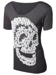 Casual Pullover Skull Printed T-Shirt For Men - GRAY M