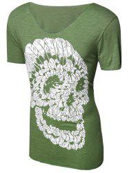 Casual Pullover Skull Printed T-Shirt For Men - GRASS GREEN