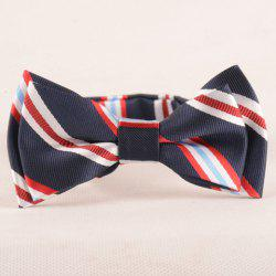 Stylish Stripe Pattern Purplish Blue Double-Deck Bow Tie For Boys