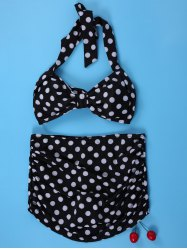 Polka Dot Bandeau Vintage High Waisted Bikini