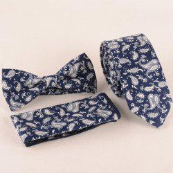 One Set Paisley Pattern Deep Blue Tie Handkercheif and Bow Tie