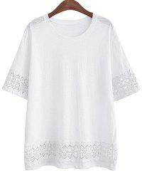 Plus Size Round Neck Short Sleeve Crochet Trim Oversize Women's T-Shirt