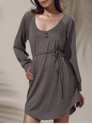 Casual Solid Color Long Sleeve Elastic Waist Dress For Women -