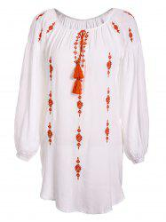 Chic Round Neck Embroidered Asymmetrical Women's Dress -