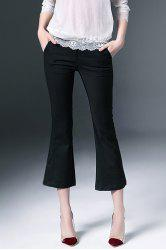Solid Color Bell Botton Capri Pants -