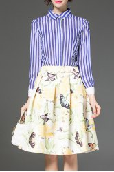 Striped Shirt and Butterfly Print Knee Length Skirt -