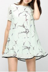 Flounced Printed Mini Dress -