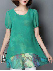 Casual Scoop Neck Short Sleeve Faux Twinset Women's Chiffon Blouse