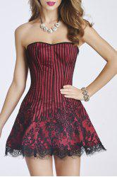 Strapless Lace-Up Bandeau Mini Dress with A Corset