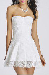 Strapless Lace-Up Bandeau Short Corset Skater Dress