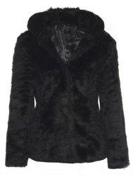Trendy Hooded Long Sleeve Pure Color Faux Fur Coat For Women - BLACK XL