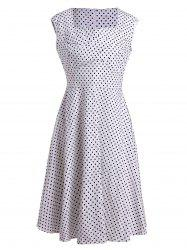 Sleeveless Polka Dot A Line Pin Up Dress -