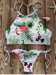 High Neck Strappy Flowers Print Bikini Swimsuit - WHITE L