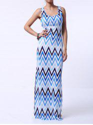 Casual Sleeveless Chevron Printed Racerback Maxi Tank Dress
