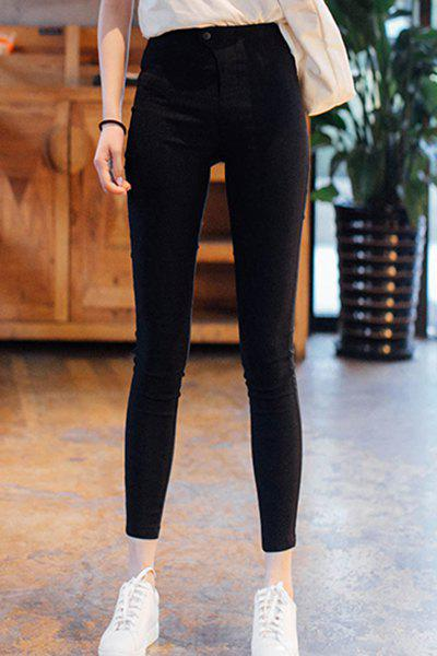 Chic Stylish High Waist Zipper Fly Solid Color Ninth Pencil Pants For Women