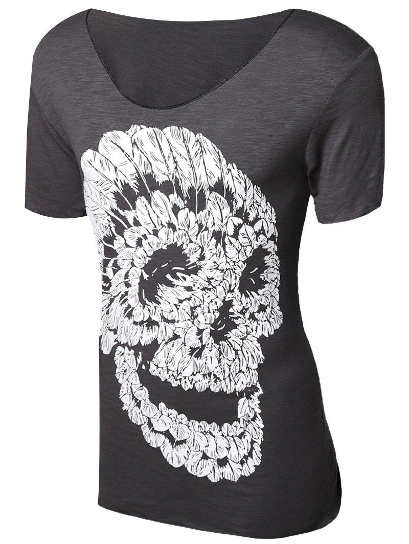 0067c9238b537 Fashion Casual Pullover Skull Printed T-Shirt For Men