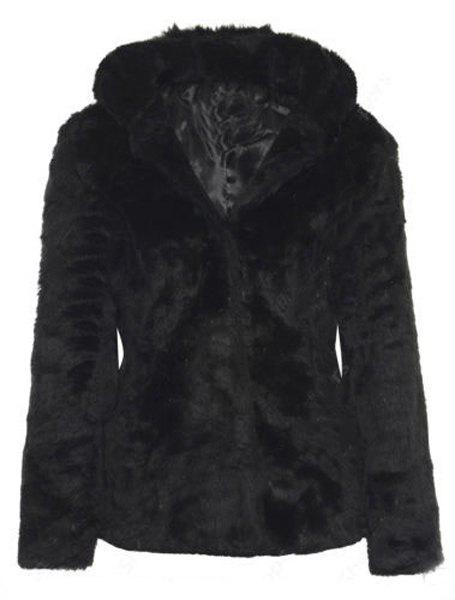 Outfits Trendy Hooded Long Sleeve Pure Color Faux Fur Coat For Women