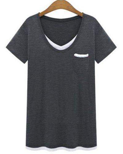 Discount Plus Size Casual V-Neck Short Sleeve Color Spliced Loose Women's T-Shirt