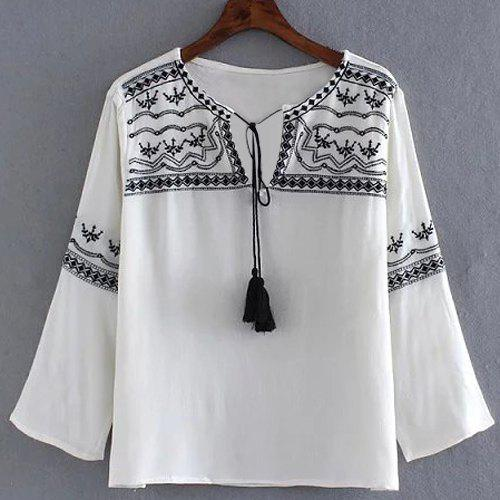 Shop Stylish 3/4 Sleeve Self-Tie Embroidery Embellished Women's Blouse