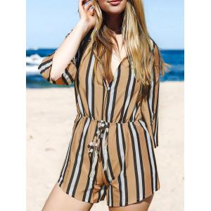 Fashion Plunging Neck 3/4 Sleeve Striped Drawstring Romper For Women