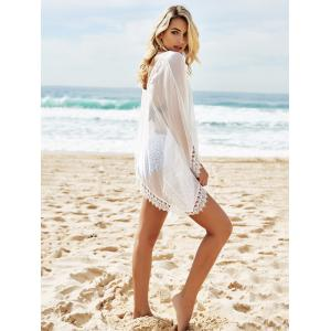 See-Through Lace Edging Tunic Cover Ups Dress -