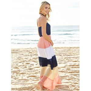Color Block Strapless Chiffon Swing Beach Dress - COLORMIX M