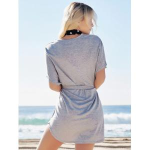 Casual Batwing Sleeve Belted Mini Dress -