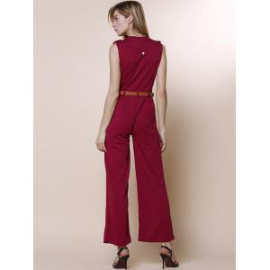 Trendy V-Neck Sleeveless Pure Color Jumpsuit For Women - RED M