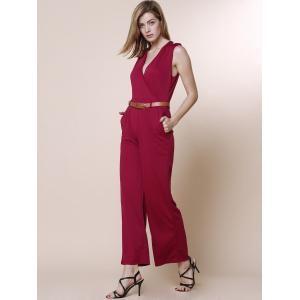 V-Neck Sleeveless Wide Leg Jumpsuit - RED L