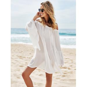 Off Shoulder Flounce Dressy Tunic Cover Up - WHITE ONE SIZE(FIT SIZE XS TO M)